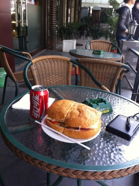30rmb ($5) gets you this sizable ciabatta sandwich and a cold soda.