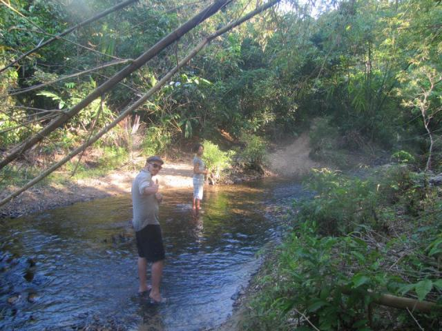 James and Leigh beckon me to join them in crossing this raging river.