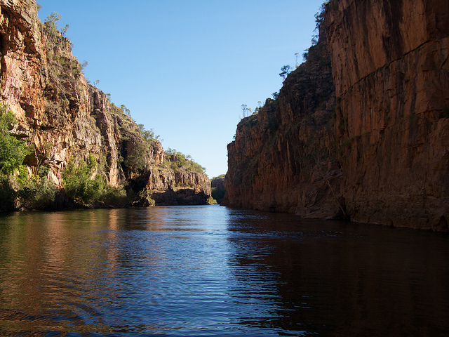 Dark water beneath and sandstone cliffs above, the Katherine Gorge is a study in serenity. Photo by shellac.