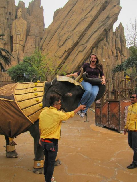 Nomadic American makes a new friend at the Changzhou Dinosaur Park.