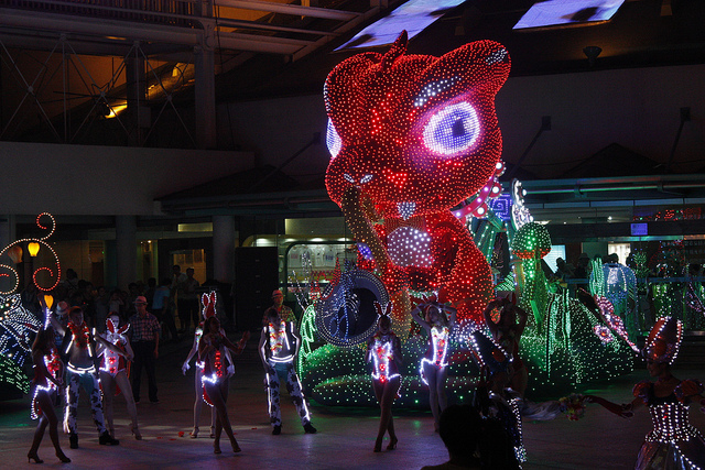 The night parade sees plenty of illuminated dinosaurs roaming the streets.