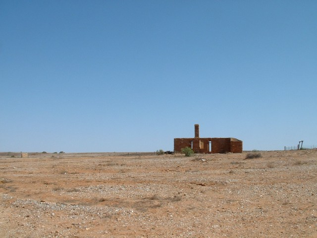 The former Mount Browne Post Office cuts a lonely figure against the endless blue sky.