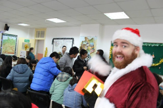 Playing Santa at a Christmas Party in China in 2013.