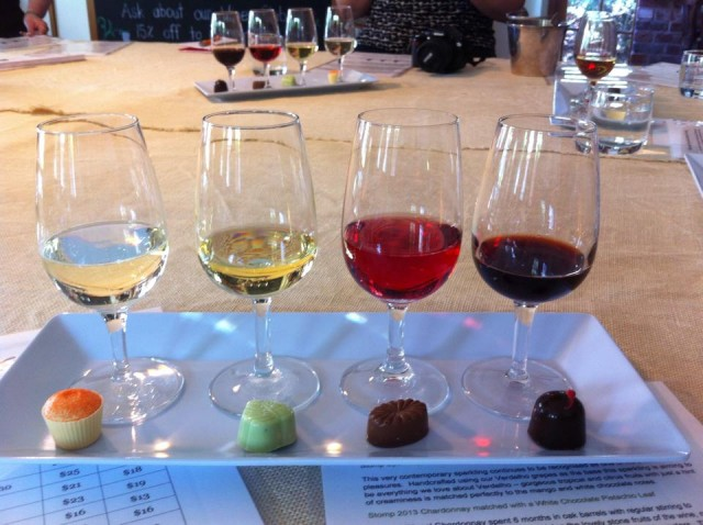 A wine (and chocolate) tasting at Stomp! wines in the Hunter Valley.