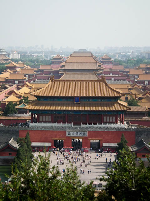 Jingshan Park's hilltop pagoda offers a unique view of the Forbidden City.