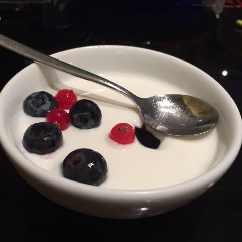 Our homemade yogurt with fresh berries. Delish!