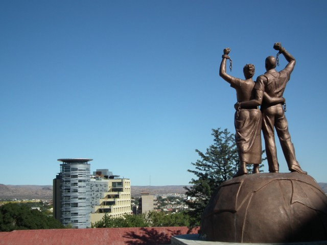 A moving memorial to Namibian independence looks out over WIndhoek's bright future.