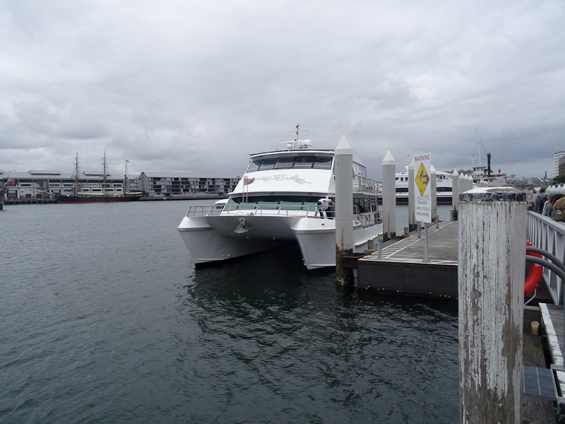 The Oz Whale Watching vessel waits at dock in Darling Harbour