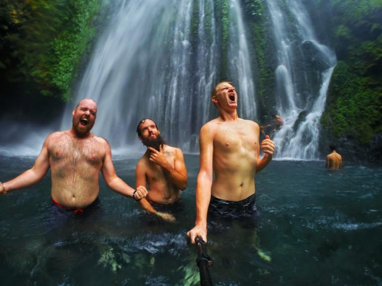 Christian rock band waterfall lombok tiu kelep bearded man