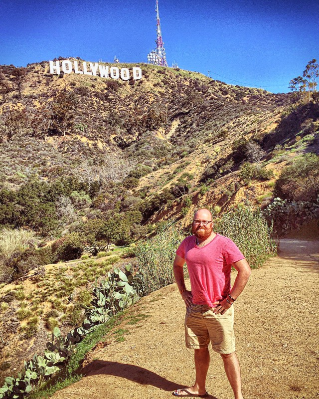 idiot in front of hollywood sign