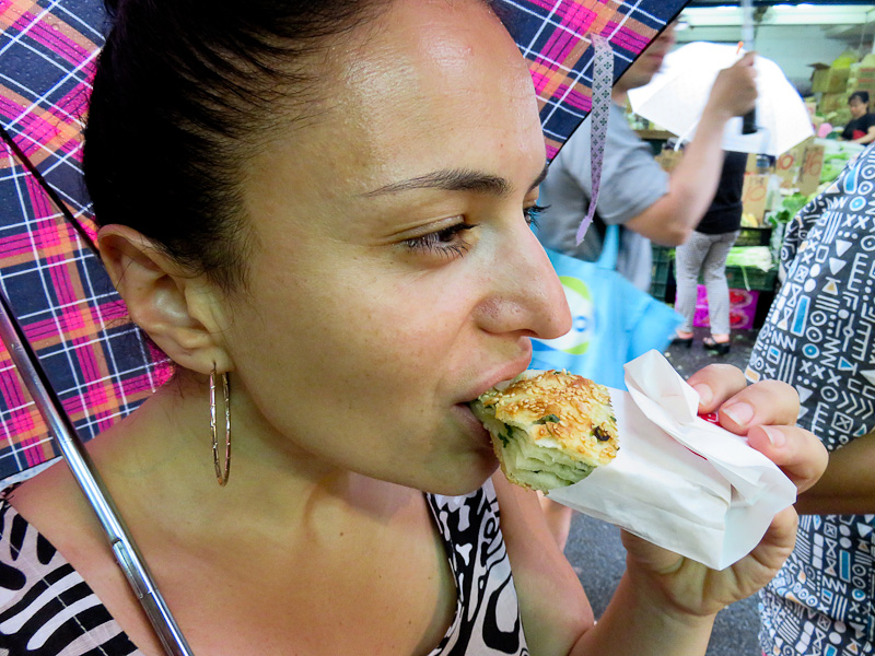taipei food tour woman eating