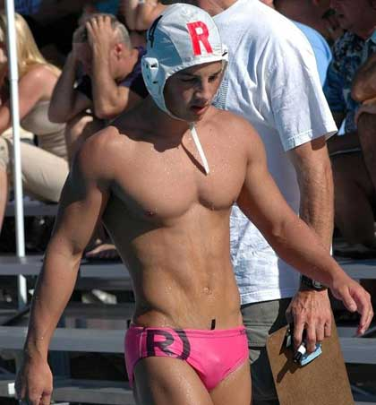 Swimmer wearing a pink speedo.