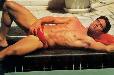 Red speedos poolside