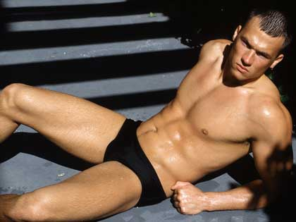 Wearing black speedo
