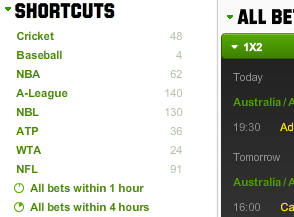 Unibet sports display
