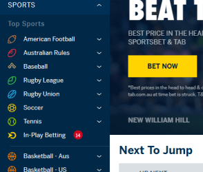 William Hill navigation menu