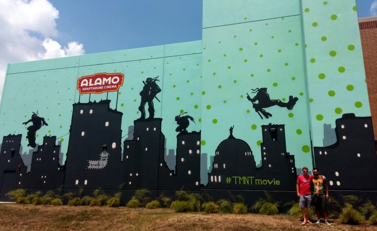 "A ""Ninja Turtles"" mural on the side of the Slaughter Lane Alamo Drafthouse. Photo: Stephen C. Webster."
