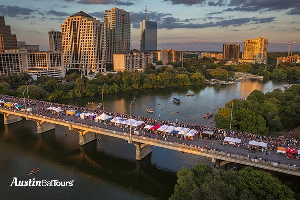 Thousands gather on the Congress Avenue Bridge for Bat Fest