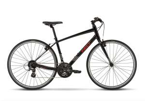 felt verza speed 50 fitness hybrid bike in black and reflective red colorway