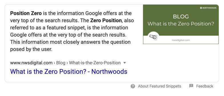 SEO zero-position ranking example.
