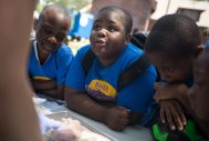 Campers from Columbus Park's Build summer camp watch as a fish is dissected last Friday, during the first stop of the Shedd Aquarium's traveling aquarium at Columbus Park in Chicago's Austin neighborhood. | ALEXA ROGALS/Staff Photographer