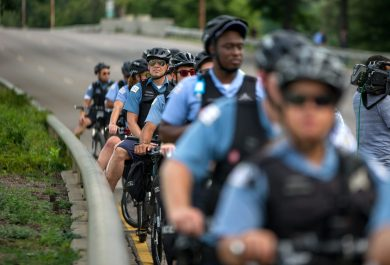 Police line up along Lake Shore Drive after the road was shut down on Thursday, during an anti-violence protest in Chicago. | ALEXA ROGALS/Staff Photographer