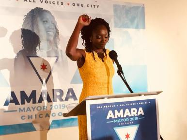 'All people...' Amara Enyia, a West Side policy consultant and head of the Austin Chamber of Commerce, officially kicked off her campaign for mayor on Aug. 28 at Co-Prosperity Sphere in Bridgeport. Enyia framed her candidacy as the progressive, grassroots alternative to Mayor Rahm Emanuel's neoliberal governing philosophy. | AMARA ENYIA/Facebook