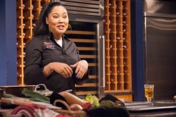 COOKING UP INSPIRATION: Ayesha Curry during a live cooking demonstration at Macy's in Chicago on March 4. The businesswoman says budding entrepreneurs should be persistent in achieving their dreams. | SHANEL ROMAIN/Contributors