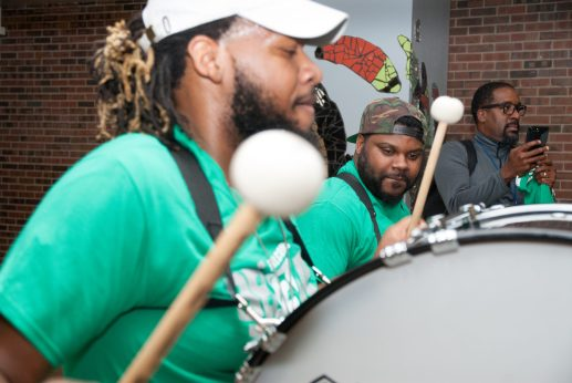 Michele Clark High School students filed into the building to the sounds of a marching band on Sept. 3, their first day back. | SHANEL ROMAIN/Contributor