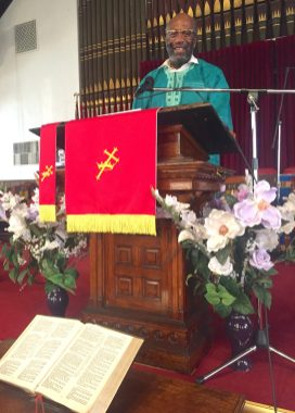 WHAT JESUS WOULD DO: Rev. Walter McCray at the pulpit of Greater Union Baptist Church. The longtime West Side resident calls himself a Gospelizer. McCray has authored numerous books on the African American religious experience. | BONNI McKEOWN/Contributor