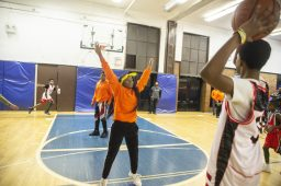 Players scrimmage on Dec. 19, during youth basketball training from the Chicago Westside Police at Genevieve Melody Public School in Chicago. | ALEX ROGALS/Staff Photographer