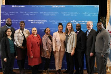HEALTH INVESTMENT: West Side United Executive Director Ayesha Jaco, center right, with partners of the Impact Investment Collaborative. | PASCAL SABINO/Block Club Chicago