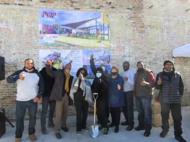 Austin community leaders take part in a groundbreaking event for the Pop Courts outdoor space on Oct. 24. | Igor Studenkov