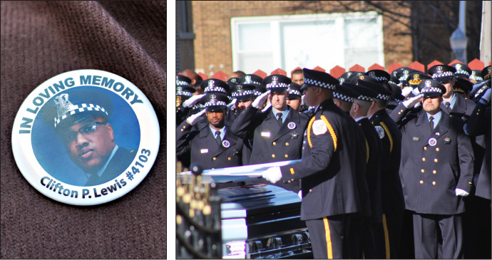 Clifton Lewis, 41. The officer's Jan. 5 funeral.