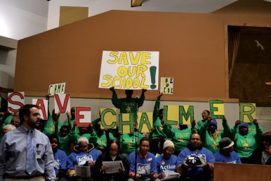 Fighting back: More than 100 people showed up at Friendship Baptist Church on Jan. 31 to tell CPS to keep West Side schools open.Austin Talks