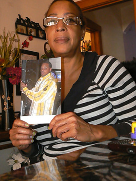 Justice: Arbrett Stubblefield holds a picture of her son, Levi, whose killer has finally been charged with his November 2011 murder.La Risa Lynch/Contributor