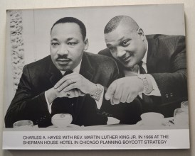 A photo belonging to Black showing Dr. King and activist Charles Hayes organizing in Chicago.Photo courtesy TIMUEL BLACK