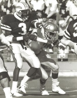 Duane Hughes used sports to get through his childhood nightmare. He played football at Oregon State in 1987.Photo courtesy Duane Hughes