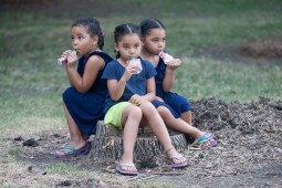 The Sims sisters, Rose, left, Kiara and Carmen, 5, drink juice in triplicate as they watched National Night Out festivities in Moore Park. (David Pierini/staff photographer)
