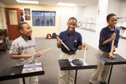 Sixth-grade students practicing for drumline in CJA's new music and multi-purpose classrooms. (Photo Diane M. Smutny/DMS Photography)