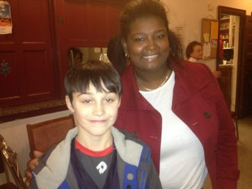 At Circle Family's holiday party: My son Paxton and Vicki Rivkin, Director of the Illinois Neighborhood Recovery Initiative at Circle Family Healthcare Network.