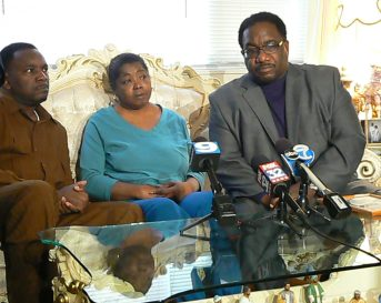 Rev. Ira Acree, Rose Starnes and Rev. Marshall Hatch at a Jan. 15, press conference as Starnes' Austin home to mark the 6th year disappearance of family member Yasmin Acree