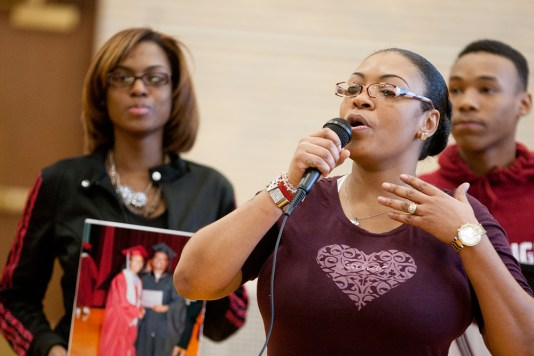 Tiffany Hardmon talks about her daughter, Ashley, whose basketball number was retired during a ceremony at Austin High School Thursday. Ashley was fatally shot in July. (David Pierini/staff photographer)