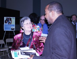 """Bonni McKeown, author of """"West Side Blues Blog"""" for Austin Weekly News, talks with Sharif Walker, Regional Program Director for After School Matters."""