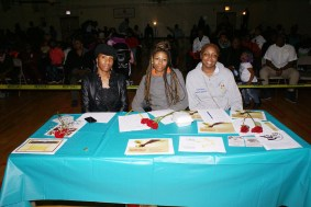 Judges at the talent show were (l-r) Lady Luv, Tee-Tee and a representative from Everybody Show Out Theater. (Courtesy of Major Adams Community Committee)
