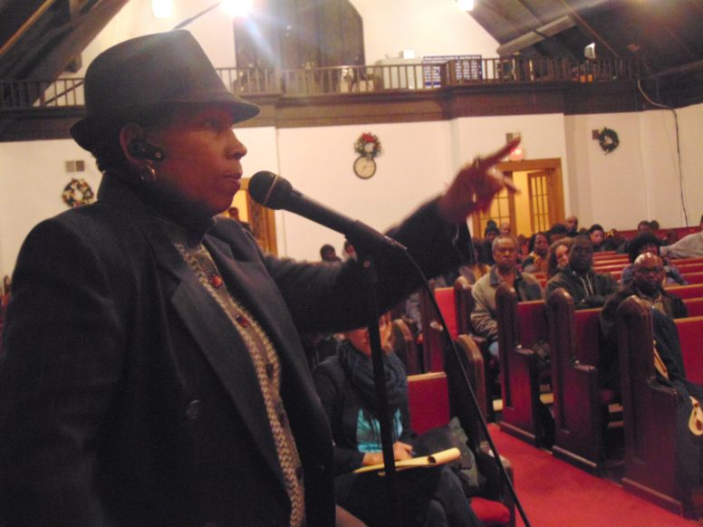 Wendy Pearson was among the passionate speakers against police brutality at a community meeting at Greater St. John Bible Church Dec. 4. (Terry Dean/STAFF)