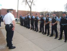 15th District officers occasionally conduct their roll call out in the community.(File)