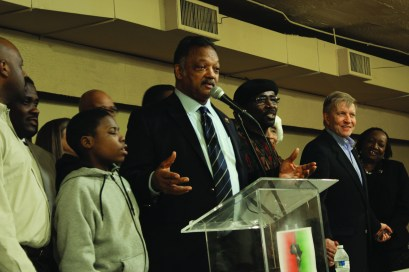 Rev. Jesse Jackson joined Austinites Jan. 19, at Sankofa to address economic inequality. (Courtesy of AustinTalks)