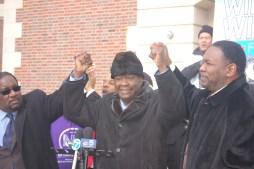 Mayoral candidate Willie Wilson (c) is joined by senior advisers Rev. Marshall Hatch and Rev. Ira Acree at a press conference today, Jan. 16, in front of the Austin Town Hall building.