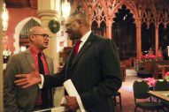 Cook County Board Commissioner Richard Boykin (right) chats with Oak Park Village Trustee Adam Salzman during a criminal justice town hall meeting at Grace Episcopal Church on Saturday, January 10, 2015. (Chandler West/Staff photographer)